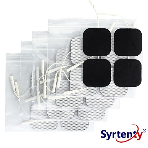 Syrtenty TENS Unit Electrodes Pads 2x2 20 Pcs Replacement Pads Electrode Patches For Electrotherapy