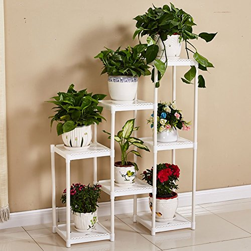 CSQ White Flower Stand, Creative 7 Tables Plant Stand Floor Shelf Living Room Bedroom Balcony Flower Pot Ornaments 8029100CM (Color : White) by Flowers and friends (Image #1)