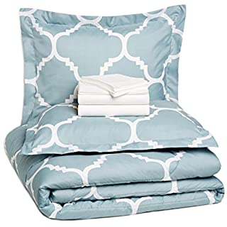 AmazonBasics 7-Piece Light-Weight Microfiber Bed-In-A-Bag Comforter Bedding Set - Full or Queen, Dusty Blue Trellis