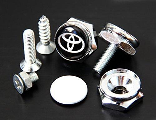 TKXT 4 Pcs Separate Zinc alloy Logo License Plate Frame Bolt Screws Fastener For Toyota(Black) tongkaixintaijinshucailiao