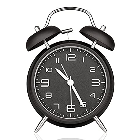 DreamSky Battery Analogy Alarm Clock With Backlight, Non Ticking & Silent ,3D Number Display , Loud Alarms For Heavy Sleeper , Vintage Twin Bell Clock For Bedrooms (Twin Sleepers)