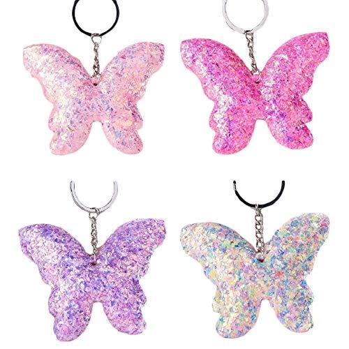 UTENEW 4 Pack Butterfly Sequin Keychain Pendant Glitter Keyring Charm for Keys Backpack Bag Purse, Kids/Girls Gift Set