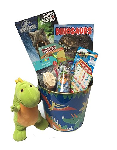 Deluxe Dinosaur Lover's Gift Basket featuring Jurassic World Coloring Book and The Good Dinosaur Character Figurines - Perfect for Easter, Christmas, Birthdays, Get Well, or Other Occasion!