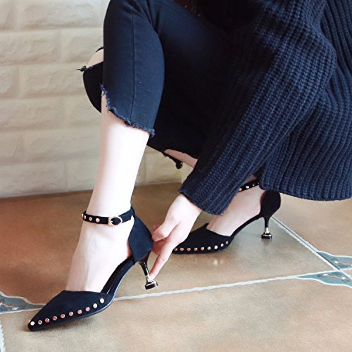 Un Talon De Des Mot Cat Rivet Boucle Femmes Black Chaussures Ressort Superficiellement Zhudj Hauts Fait Minces Et Talons dSwxqad