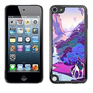 rígido protector delgado Shell Prima Delgada Casa Carcasa Funda Case Bandera Cover Armor para Apple iPod Touch 5 /Horse Pink Purple River/ STRONG