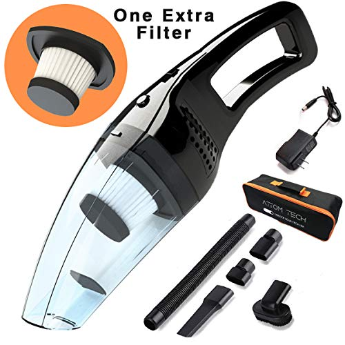 Attom Tech Cordless Handheld Vacuum Cleaner Rechargeable 120W Strong Suction Car Cleaner Wet and Dry Portable for Car Auto Home Kitchen with Easy Washable Filter, Cleaning Brushes Black