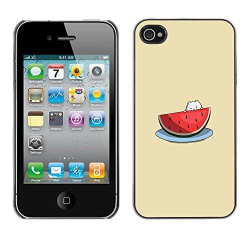 TopCaseStore / caoutchouc Hard Case Housse de protection la Peau - Cute Cat Beige Fruit - Apple iPhone 4 / 4S