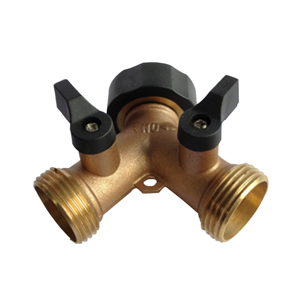 Tubwair 2 Way 3/4 Screw Thread (US/UK) Brass Tap Manifold with Individual On/Off Valves,Tap Adaptor for Garden Irrigation Tool Fitting(3/4 (US screw thread))