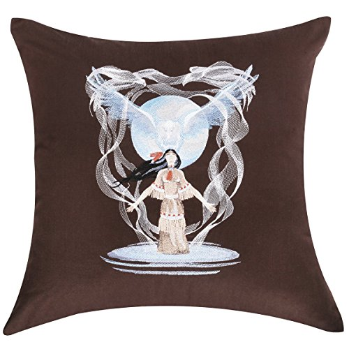 CasStar 100% Cotton 18x18 Inches Square Cushion Case Embroidered Native American Eagle Spirit Throw Pillow Cover, Coffee