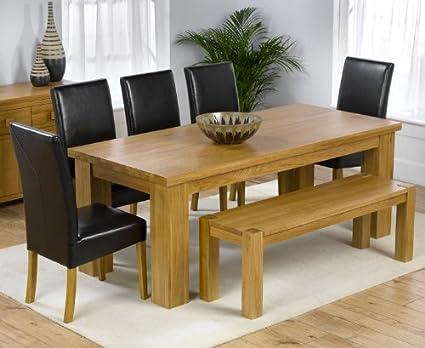 Dorset roble sólido grande mesa de comedor, Barcelona banco y 5 ...