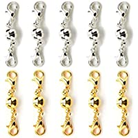 10Pcs Ball Tone Magnetic Lobster Clasps for Jewelry Necklace Gold & Silver