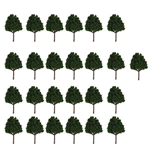 MagiDeal 25pcs Miniature Plastic Trees for Model Railways N Scale Train Layouts 1:150