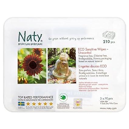 Nature Babycare Eco Naty - Toallitas para bebé para pieles sensibles (sin perfume, 3
