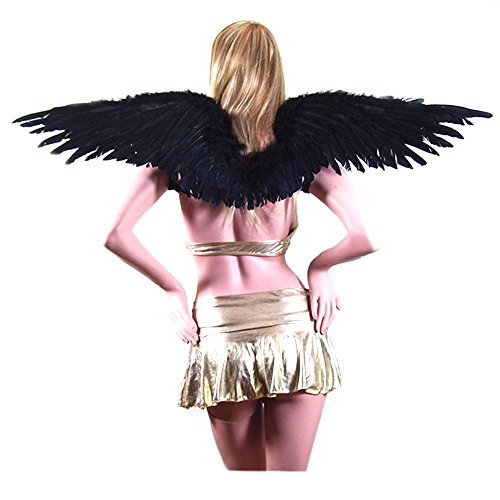 SACASUSA (TM) Large Black Feather Angel Fairy Wings w/ Free Halo for Halloween (Pink Nymph Fairy Costume)