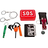 Ultimate Compact Survival Kit: Ultimate - Multi Functional Pocket Tool, Flashlight, Wire Saw, Fire Starter, Emergency Whistle, Knife/Utensil Tool in Sturdy Tin Can by Aid & Prep
