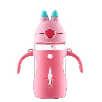 ED-Lumos Botella infantil con Pajita Diseño intersante con Oreja con2 mangos 300 ML Color
