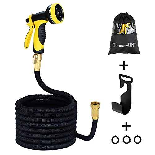Garden Hose 50 ft Expanding Car Wash Hose Stretch Hosepipe, Latex Core Expanding with Solid Brass Connectors, 9 Functions Spray Nozzle for Home, Garden, Shower Pets or Wash Car with One Hanger by Tomus-UNI