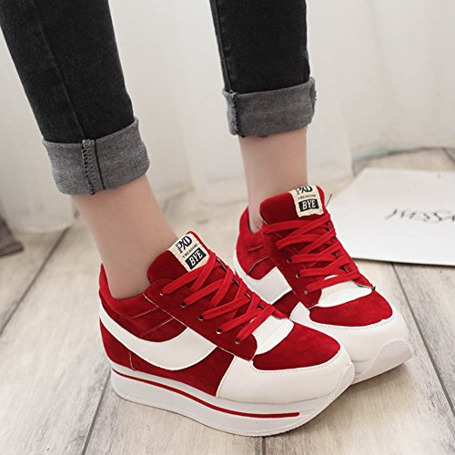 Btrada Womens Wedge Increased Sneakers Lace-Up Flat Thick Bottom Casual Outdoor Sports Running Shoes Red O6sYBVia1A