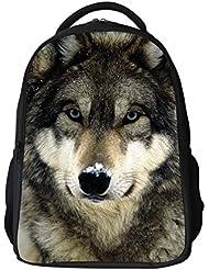 WECNSKY Kids Cool Wolf Animal Printing School Bags (wolf gray)
