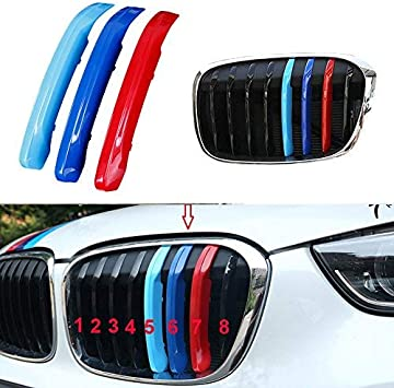 3 Colors Car Front Grille Trim Strips Grill Cover Stickers Styling 8 Grilles