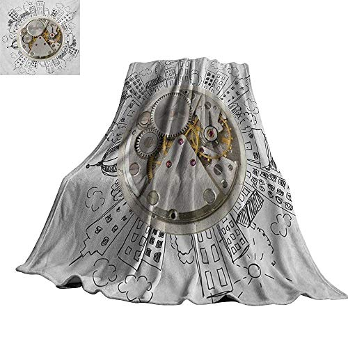 """RenteriaDecor Clock,Soft Blanket Microfiber an Alarm Clock with Clouds and Buildings Around It in Vintage Style Pattern Design All Season Blanket 70""""x60"""""""