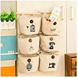 Storage Bag 6 Pockets Wall Door Closet Linen/Cotton Fabric Hanging Storage Bag Case Home Organizer Door Closet Nostalgic Style