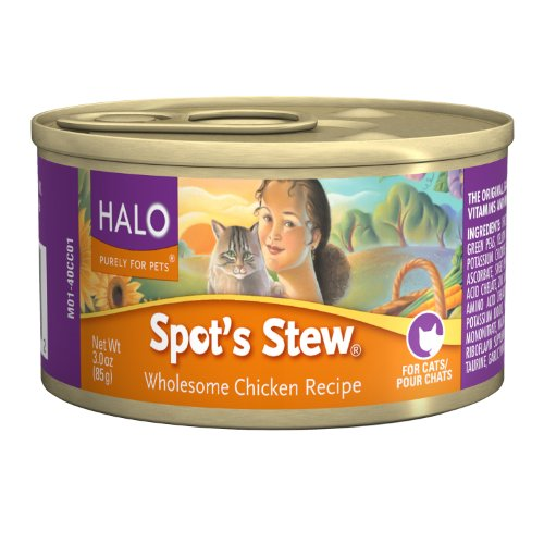 Halo Spot's Stew for Cats, Wholesome Chicken Recipe, 3oz/12cans, My Pet Supplies
