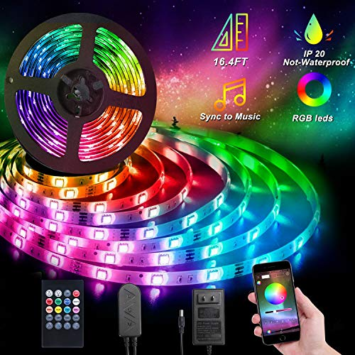 Perfire Led Strip Lights,16.4 ft Color Changing LED Rope Lights, RGB 5050 LEDs Color Changing Kit with 3 Control Mode and Power Supply for Room, Ceiling, Bedroom,Party?Decoration