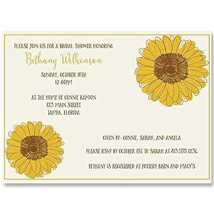 bridal shower invitations sunflower wedding shower yellow country chic rustic