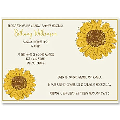 Amazon bridal shower invitations sunflower wedding shower bridal shower invitations sunflower wedding shower yellow country chic rustic filmwisefo