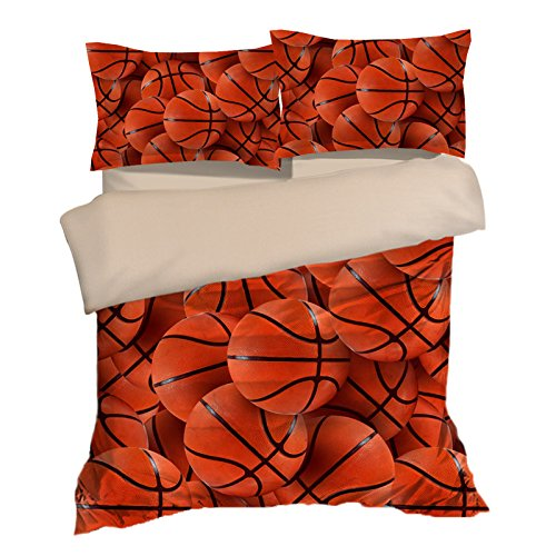 Abstract Basketball Cotton Microfiber 3pc 80''x90'' Bedding Quilt Duvet Cover Sets 2 Pillow Cases Full Size by DIY Duvetcover