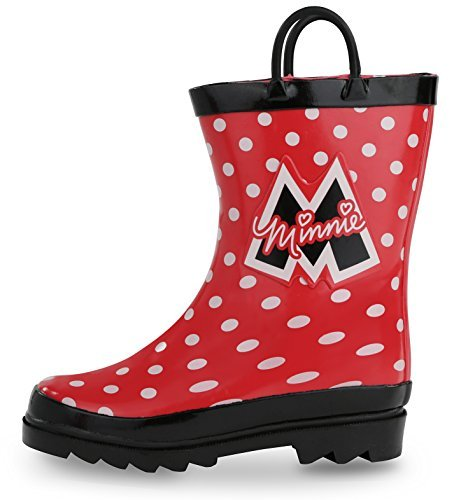 Toddler//Little Kids / Disney Kids Girls Minnie Mouse Character Printed Waterproof Easy-On Rubber Rain Boots