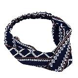 NIKOLay Cross Elasticated Hairband Rhombic Printed Bohemian Retro Sports Hair Accessories,Navy