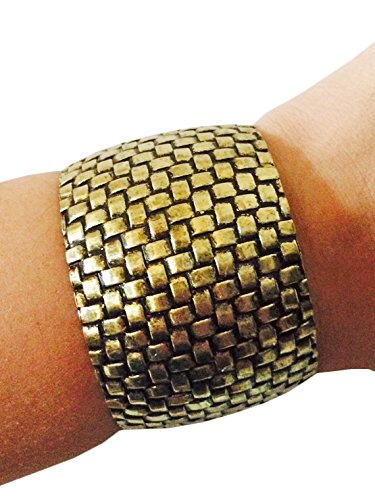 Fitbit Bracelet for Fitbit Flex and Flex 2 Fitness Activity Trackers - The Funktional Wearables SUE Antique Gold Woven Cuff Fitbit Bracelet