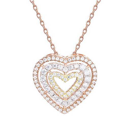 lver Jewelry Rose Gold Tri-color Triple Heart Pendant Necklace for Women, 18'' (Gold Open Heart Necklace)