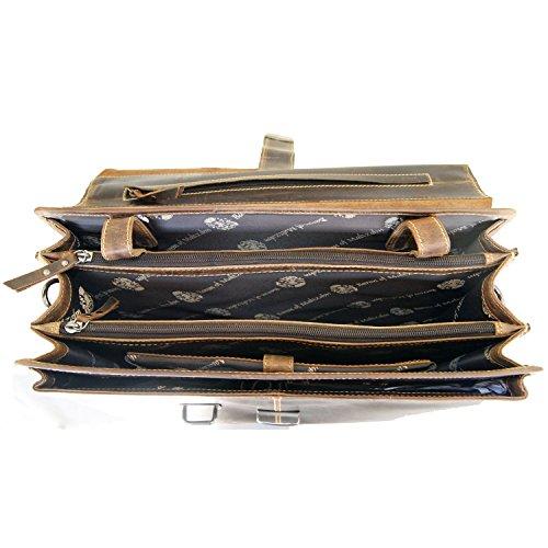 BARONE di MALTZAHN Ampia Valigetta portadocumenti MANITU in cuoio country con scomparto per notebook + Cura del cuoio