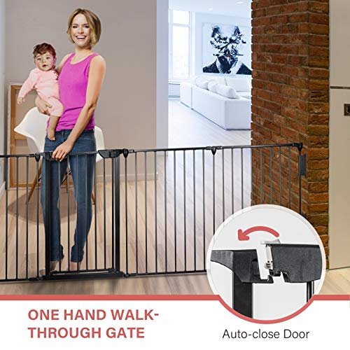 Tenozek Fireplace Safety Fence Baby Gate/Fence BBQ Pet Metal Fire Gate Baby Play Yard with 5 Panels AUTO-Close Door Safety Gate for Pet/Toddler/Dog/Cat (1)