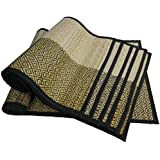 Prime Sale on SouvNear Place Mats + Table Runner - New Gift Ideas - Set of 6 Placemats & 1 Table Runner Kitchen Dining Table Decorations Reversible Woven Black White Table Mats