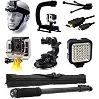 GoPro HERO4 Hero 4 Black Silver Starter Accessories Bundle includes Head Mount + Action Grip Stabilizer + HDMI + Floating Hand Holder + Car Suction Cup Mount + LED Video Light + Monopod