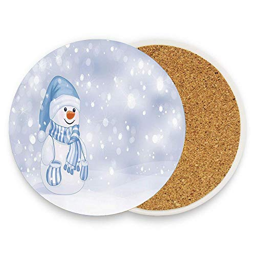 Merry Christmas Coaster - Jidmerrnm Kids Toddler Design Happy Snowman Cartoon Style Figure Merry Christmas Theme Table Ceramic Coasters Suitable for All Cups, Mugs, Glasses