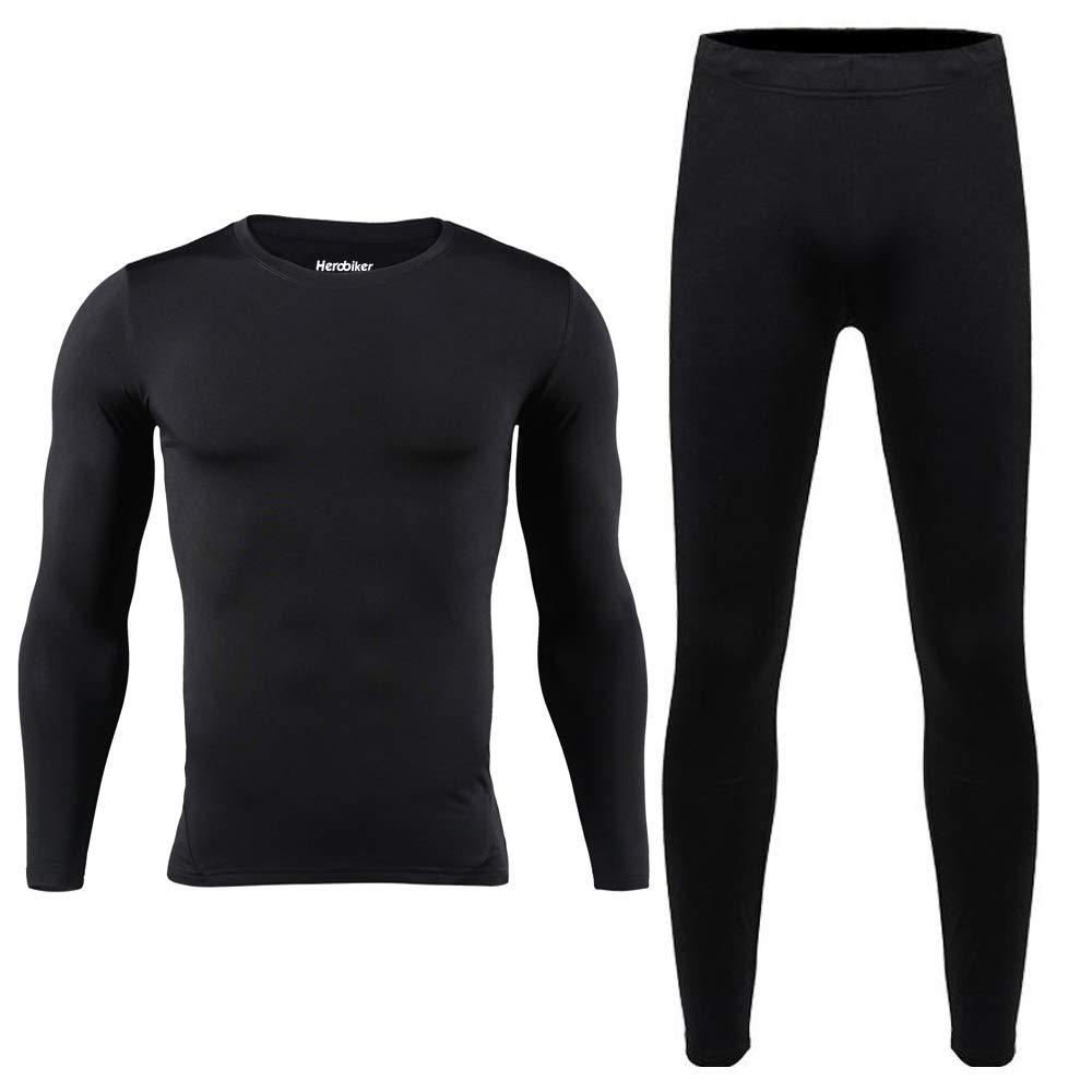 HEROBIKER Men Cotton Thermal Underwear Set Motorcycle Skiing Winter Warm Base Layers Tight Long Johns Tops & Pants Set Black, Large by HEROBIKER