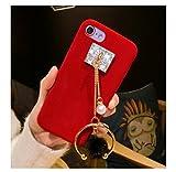 iPhone 7Plus Caso, mixneer Mink pelo pelota Tassel–Carcasa felpa Conjunto de Funda Protectora Wrestling terciopelo Shell para el iPhone de Apple 7Plus 14cm–Negro, iPhone 7 Plus, Rojo