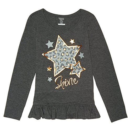 French Toast Little Girls' Long Sleeve Graphic Top, Charcoal Heather Gray Single Dye, 5