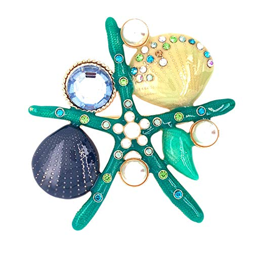 Jewelry Made By Me Coastal Starfish and Shells Brooch Pin, - Brooch Shell