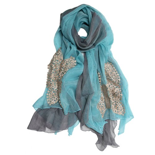 Scarfand Fancy Crystal & Inlaid Applique Chiffon Scarf (Fancy Light Blue)