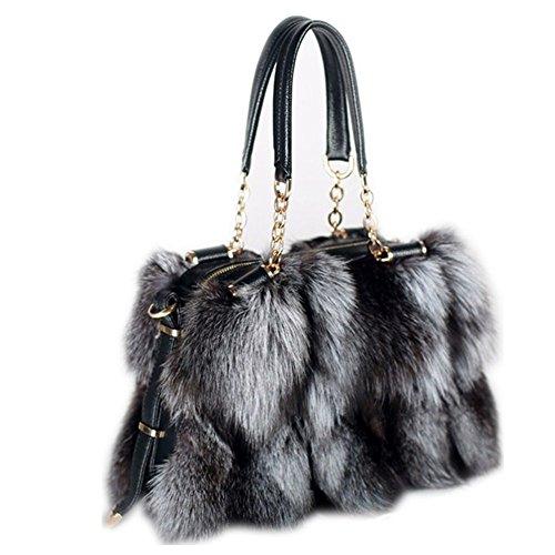qmfur New fashion fox fur handbag handbag noble luxury women's Messenger bag (Silver-1)