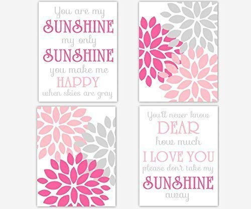 Girl Nursery Wall Art Pink Gray Flower Burst Dahlia Mums Modern Floral You Are My Sunshine Song Quote Toddler Bedroom Baby Nursery Decor SET OF 4 UNFRAMED PRINTS ()