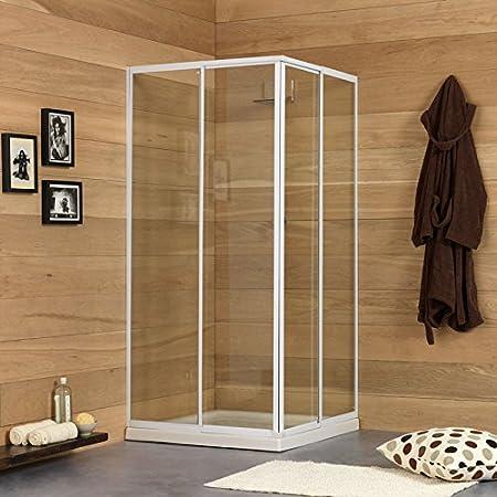 Kiamami Valentina Erice Box Ducha Extensible 80 – 90 cm Perfil Blanco de Aluminio, Media: Amazon.es: Hogar