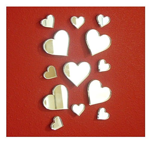 Stickers Acrylic (Heart Small Mirror Sticker ,DIY Craft& Scrapbooking Accessory Mirror Sticker,Acrylic Hearts Mirror Decal&Murals ,50PCS/lot …)
