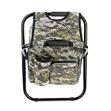 MagiDeal Folding Camping Chair Stool Backpack with Cooler Insulated Picnic Bag, Hiking Camouflage Seat Table Bag Camping Gear for Outdoor Indoor Fishing Travel - Green